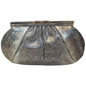 Judith Leiber Gold Gray Ring Lizard Clutch